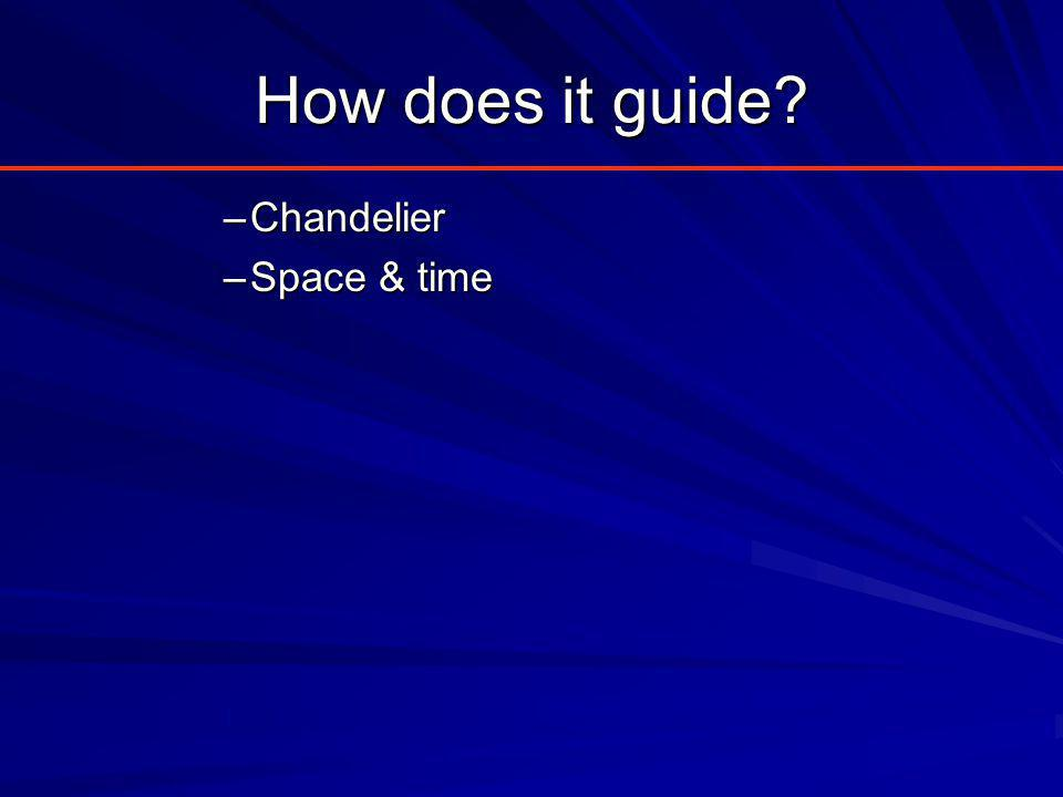 How does it guide? –Chandelier –Space & time
