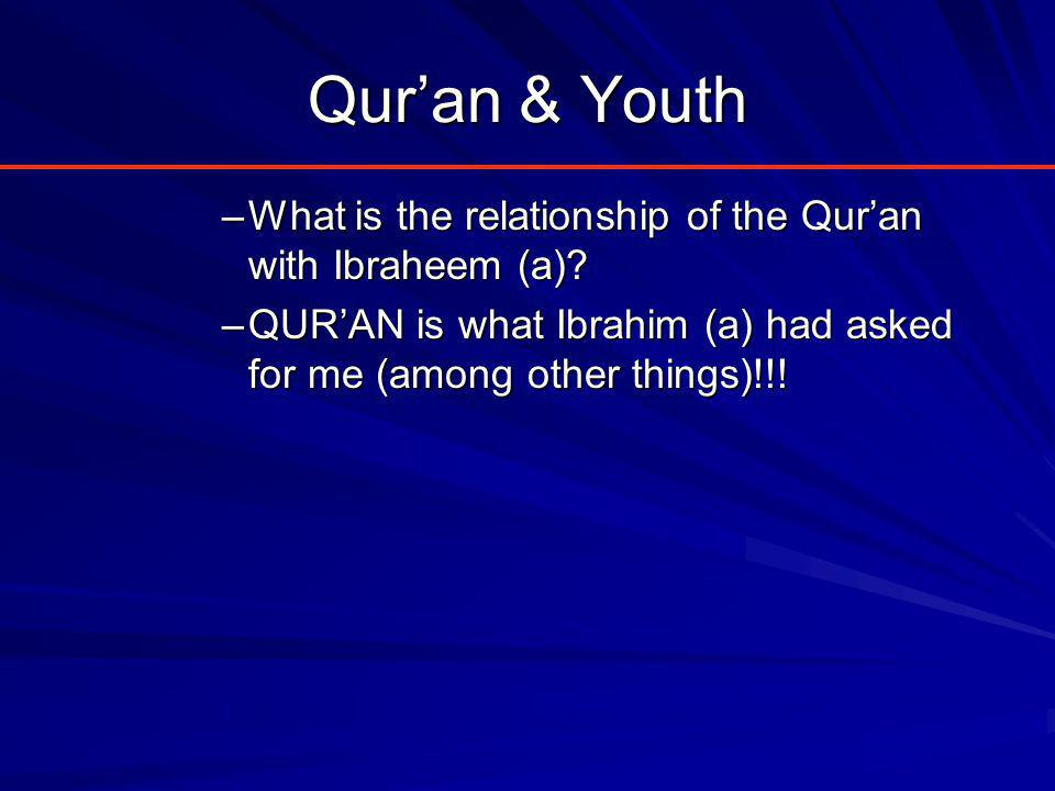 Qur'an & Youth –What is the relationship of the Qur'an with Ibraheem (a).