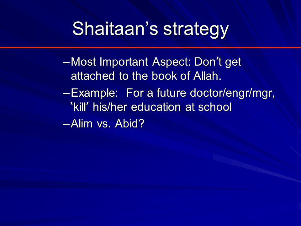 Shaitaan's strategy –Most Important Aspect: Don ' t get attached to the book of Allah.