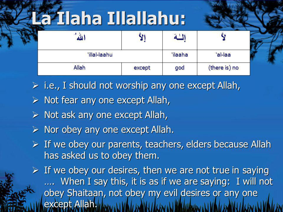 La Ilaha Illallahu:  i.e., I should not worship any one except Allah,  Not fear any one except Allah,  Not ask any one except Allah,  Nor obey any one except Allah.