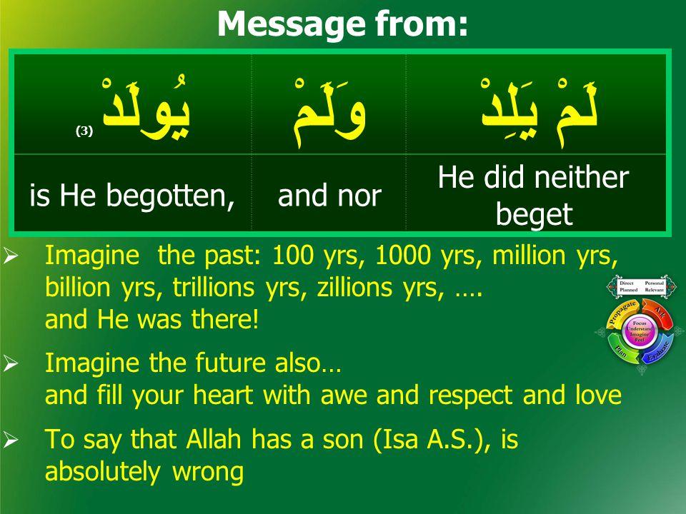 لَمْ يَلِدْ وَلَمْيُولَدْ ( 3) He did neither beget and noris He begotten, Message from:  Imagine the past: 100 yrs, 1000 yrs, million yrs, billion y