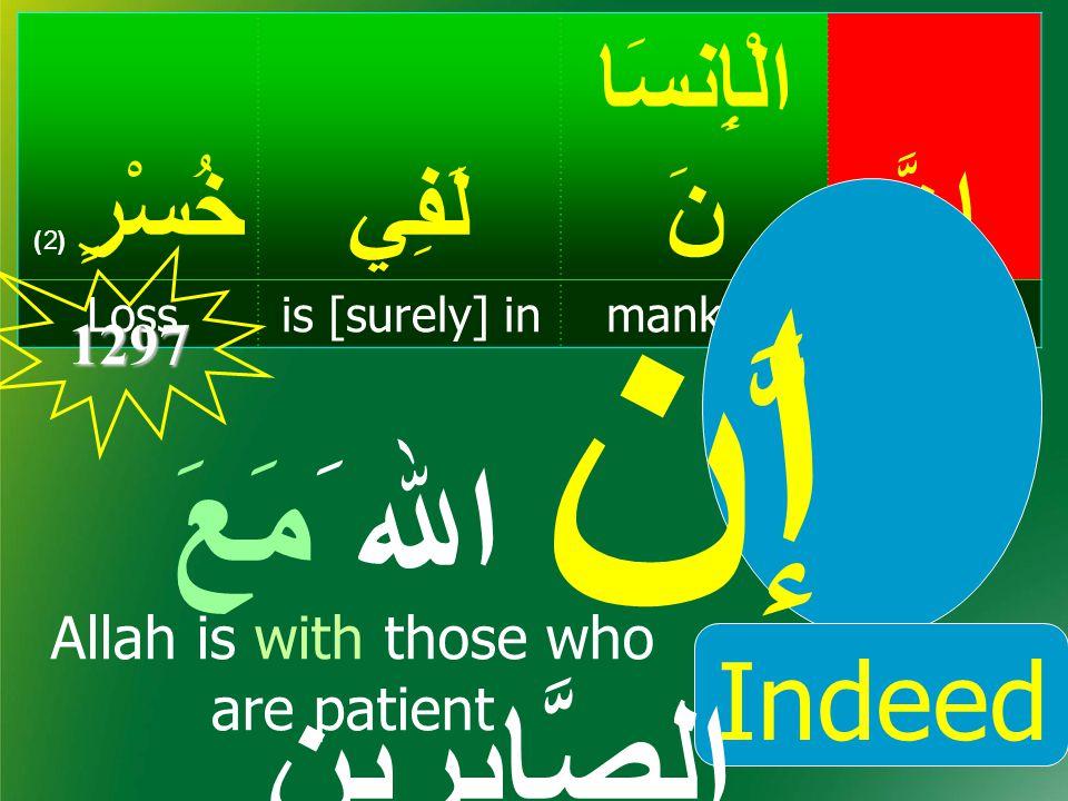 إِنَّ الْإِنسَا نَلَفِيخُسْرٍ ( 2) Indeed,mankindis [surely] inLoss, سُورَةُ العصر