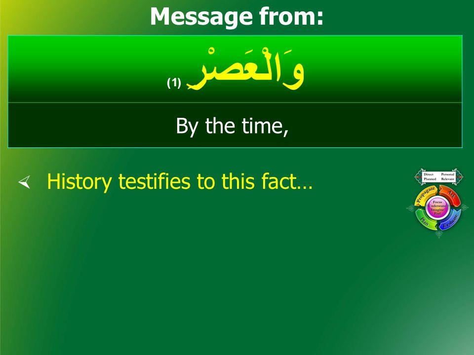 وَالْعَصْرِ ( 1) By the time, وَالْفَجْر، وَالضُّحَى، وَاللَّيْل والذَّارِيَات، وَالنَّجْم، وَالسَّمَاء So many Surahs start by oaths, such as: