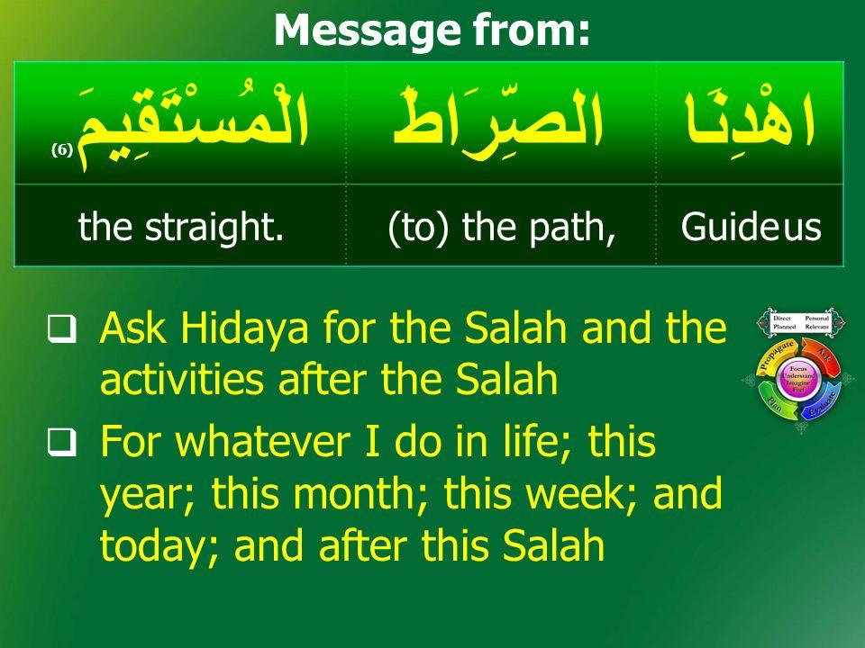 اهْدِنَاالصِّرَاطَالْمُسْتَقِيمَ ( 6) Guide us(to) the path,the straight. Message from:  Ask Hidaya for the Salah and the activities after the Salah