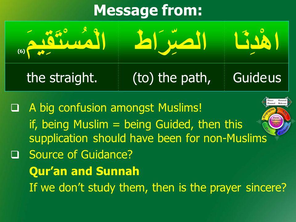 اهْدِنَاالصِّرَاطَالْمُسْتَقِيمَ ( 6) Guide us(to) the path,the straight. Message from:  A big confusion amongst Muslims! if, being Muslim = being Gu