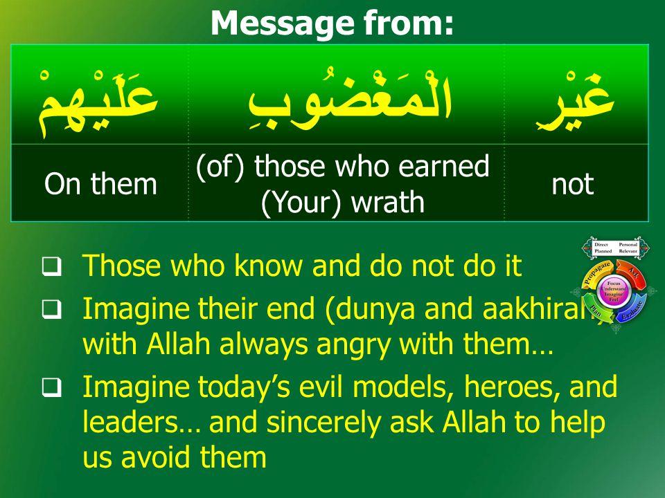 غَيْرِالْمَغْضُوبِعَلَيْهِمْ not (of) those who earned (Your) wrath On them Message from:  Those who know and do not do it  Imagine their end (dunya