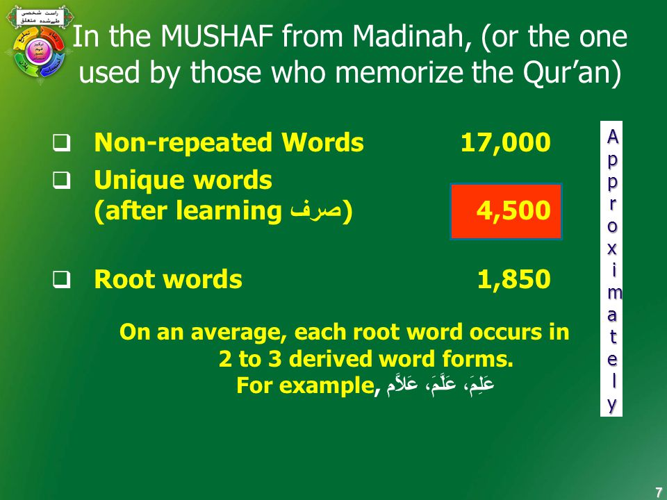 7 In the MUSHAF from Madinah, (or the one used by those who memorize the Qur'an)  Non-repeated Words 17,000  Unique words (after learning صرف ) 4,500  Root words 1,850 On an average, each root word occurs in 2 to 3 derived word forms.