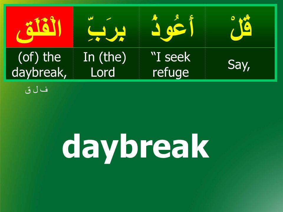 قُلْأَعُوذُبِرَبِّالْفَلَقِ Say, I seek refuge In (the) Lord (of) the daybreak, ف ل ق daybreak