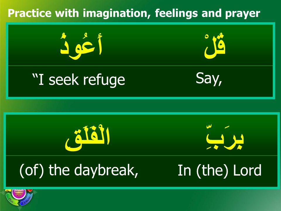 قُلْأَعُوذُ Practice with imagination, feelings and prayer بِرَبِّالْفَلَقِ Say, I seek refuge In (the) Lord (of) the daybreak,