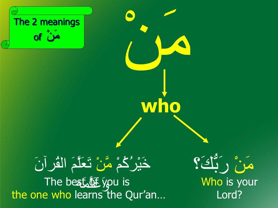 مَنْ مَنْ رَبُّكَ؟ who خَيْرُكُمْ مَّنْ تَعَلَّمَ القُرآنَ وَعَلَّمَه Who is your Lord.