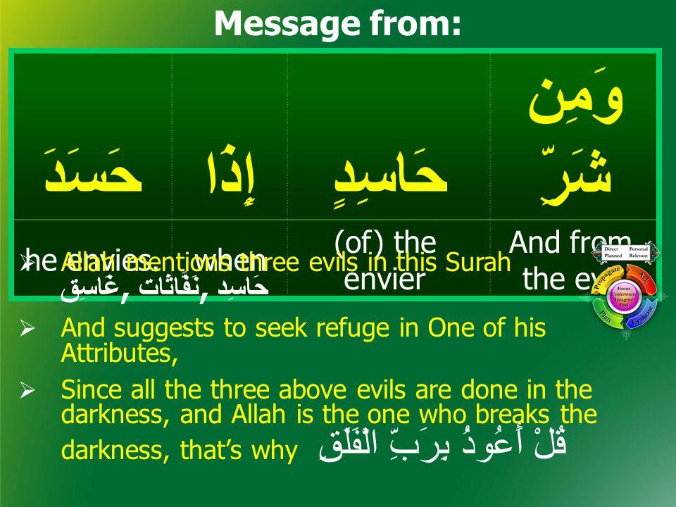 وَمِن شَرِّحَاسِدٍإِذَاحَسَدَ And from the evil (of) the envier whenhe envies.
