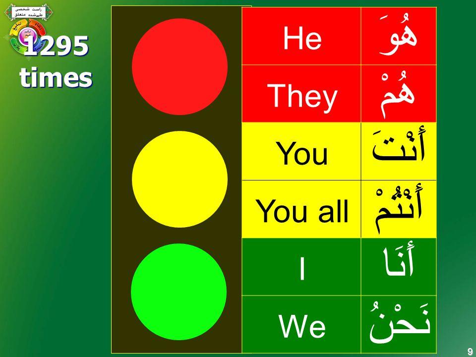 9 سبق - 8 He هُوَ They هُمْ You أَنْتَ You all أَنْتُمْ I أَنَا We نَحْنُ 1295times
