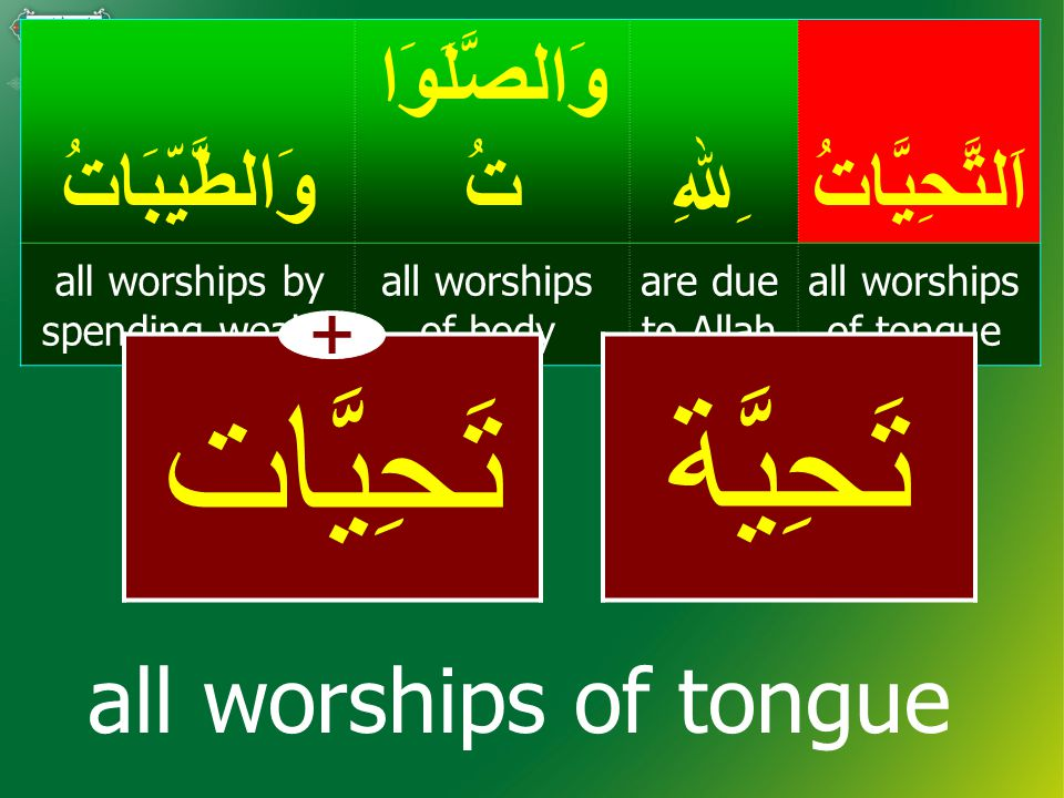 أَشْهَدُأَنْ لاَّ إِلـٰـهَ إِلاَّ اﷲ ُ I bear witness that (there is) no god except Allah