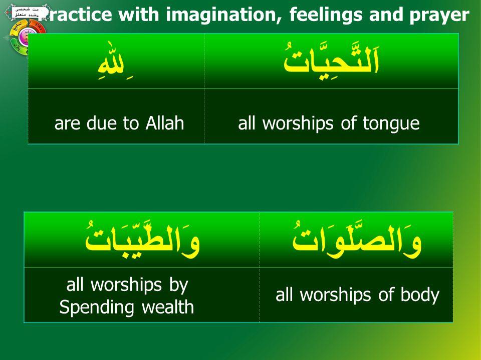 Tasha-hud اَلسَّلاَمُ عَلَيْ نَا وَعَلَ ىٰ عِبَادِ اﷲِالصَّالِحِينَ Peace (be) on us and on the slaves of Allah, the righteous ones.