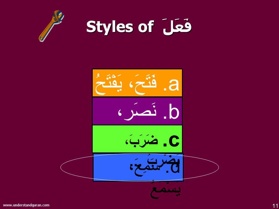 11 www.understandquran.com Styles of فَعَلَ d.سَمِعَ، يَسْمَعُ b.