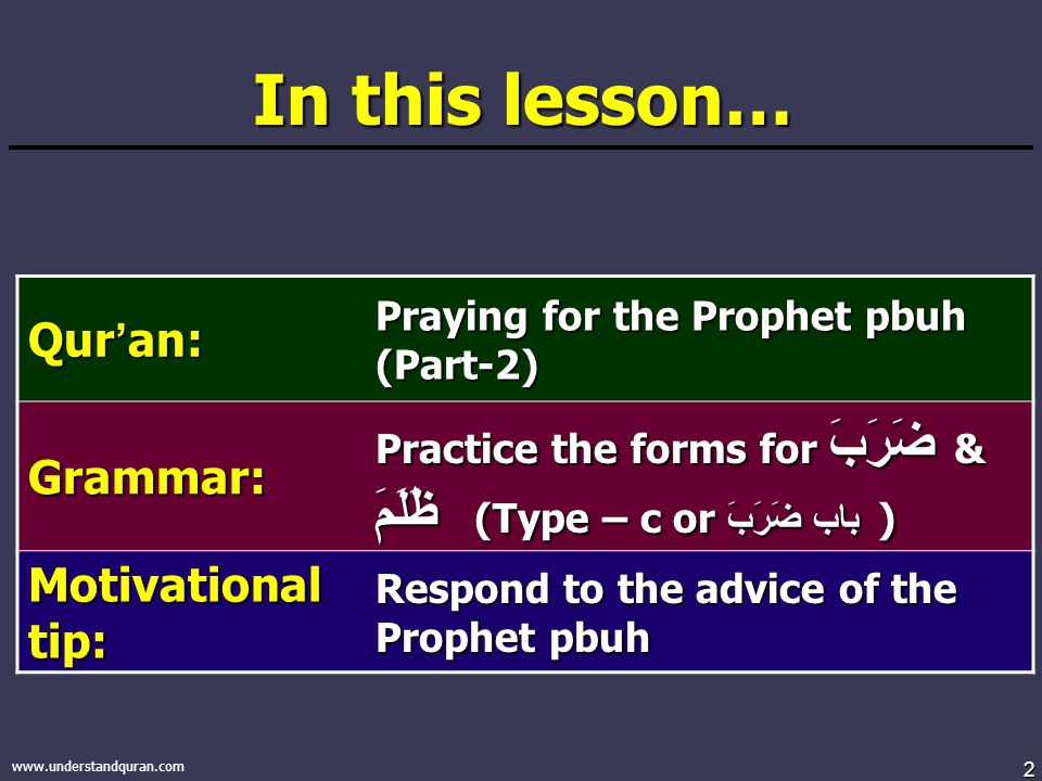 2 www.understandquran.com In this lesson… Qur ' an: Praying for the Prophet pbuh (Part-2) Grammar: Practice the forms for ضَرَبَ & ظَلَمَ (Type – c or