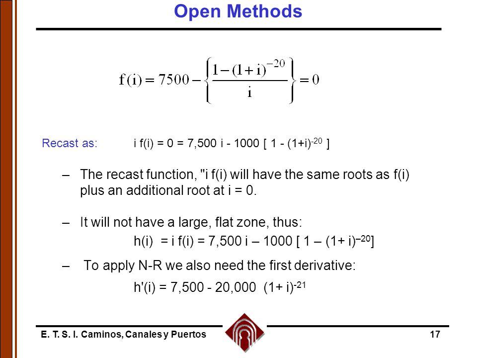 E. T. S. I. Caminos, Canales y Puertos17 Recast as:i f(i) = 0 = 7,500 i - 1000 [ 1 - (1+i) -20 ] –The recast function,
