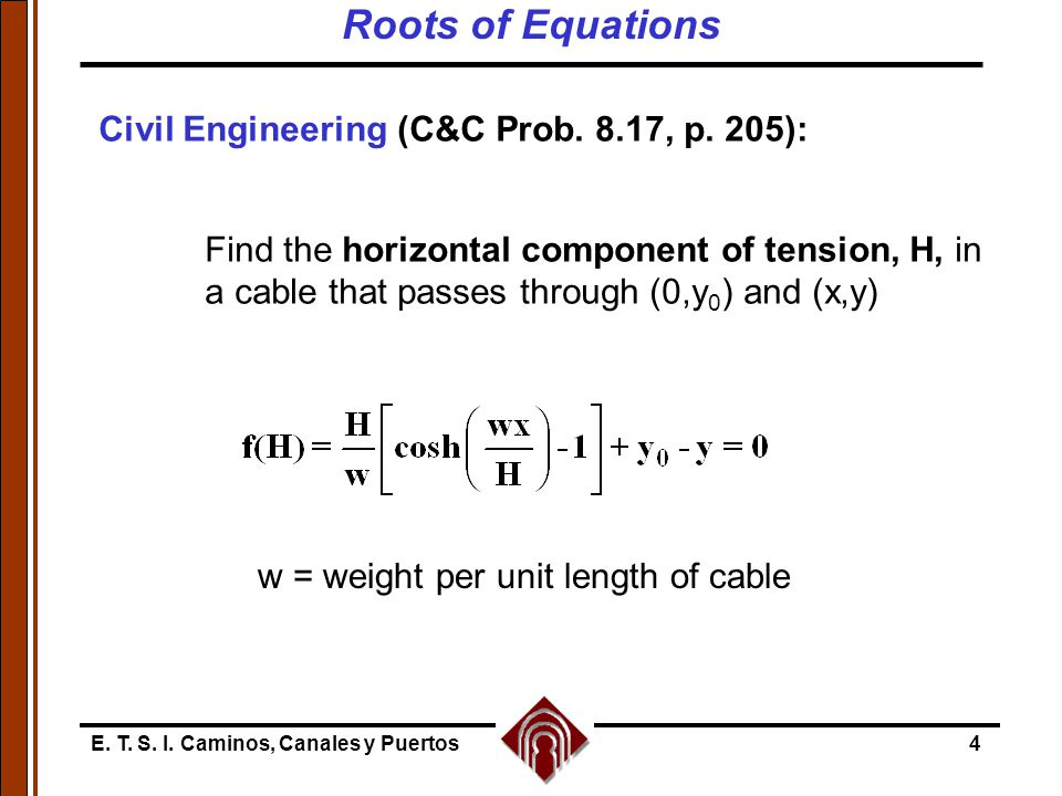 E. T. S. I. Caminos, Canales y Puertos4 Civil Engineering (C&C Prob. 8.17, p. 205): Find the horizontal component of tension, H, in a cable that passe