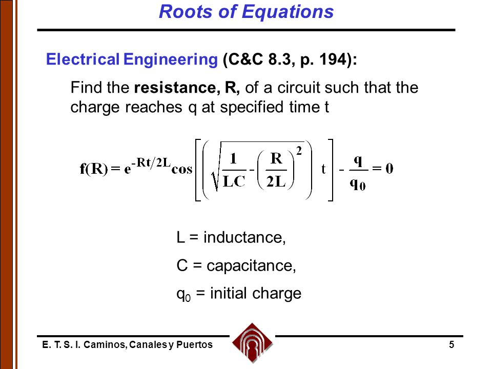 E. T. S. I. Caminos, Canales y Puertos5 L = inductance, C = capacitance, q 0 = initial charge Electrical Engineering (C&C 8.3, p. 194): Find the resis