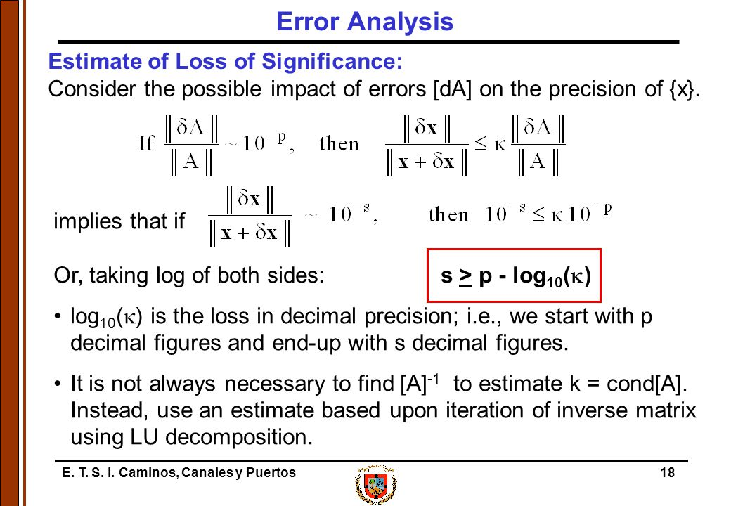 E. T. S. I. Caminos, Canales y Puertos18 Estimate of Loss of Significance: Consider the possible impact of errors [dA] on the precision of {x}. Error