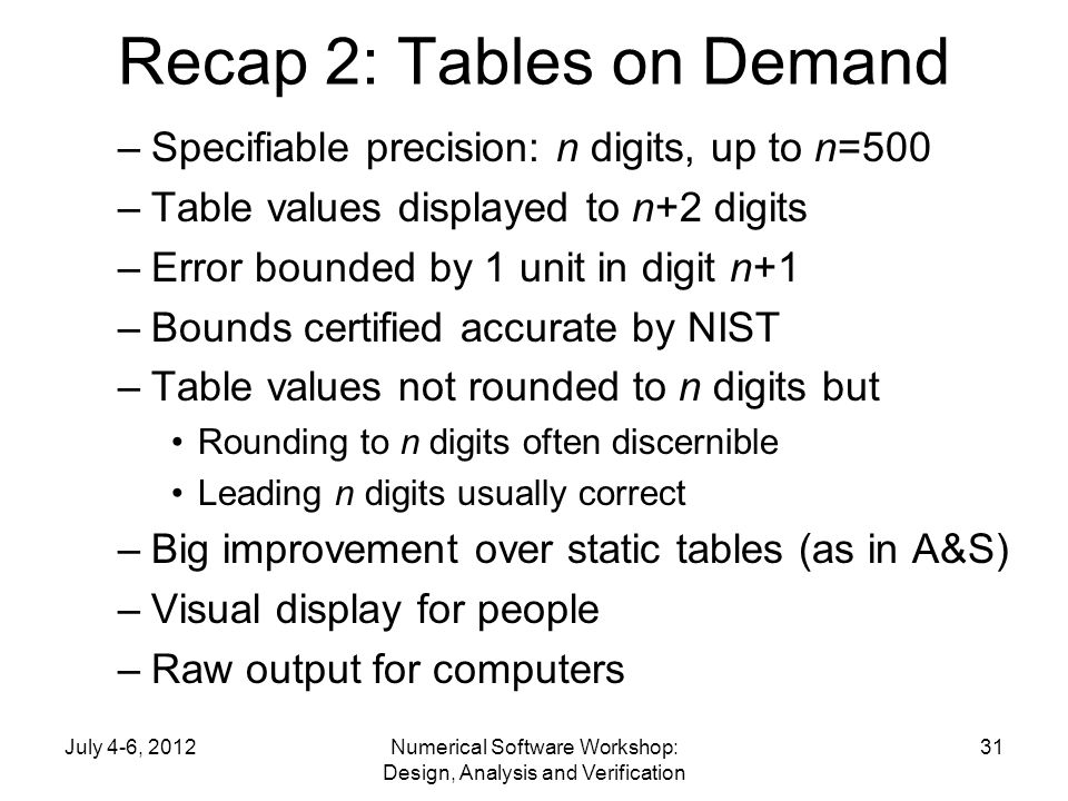Recap 2: Tables on Demand –Specifiable precision: n digits, up to n=500 –Table values displayed to n+2 digits –Error bounded by 1 unit in digit n+1 –B