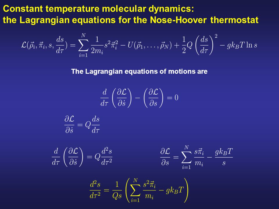 Constant temperature molecular dynamics: the Lagrangian equations for the Nose-Hoover thermostat