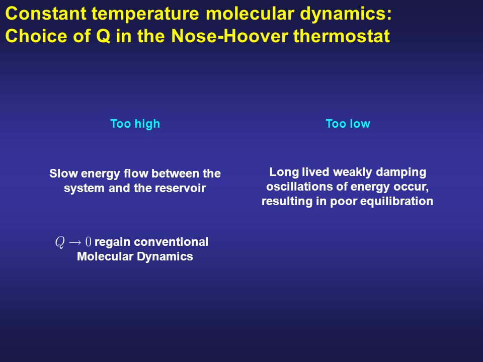 Constant temperature molecular dynamics: Choice of Q in the Nose-Hoover thermostat Too highToo low Slow energy flow between the system and the reservo