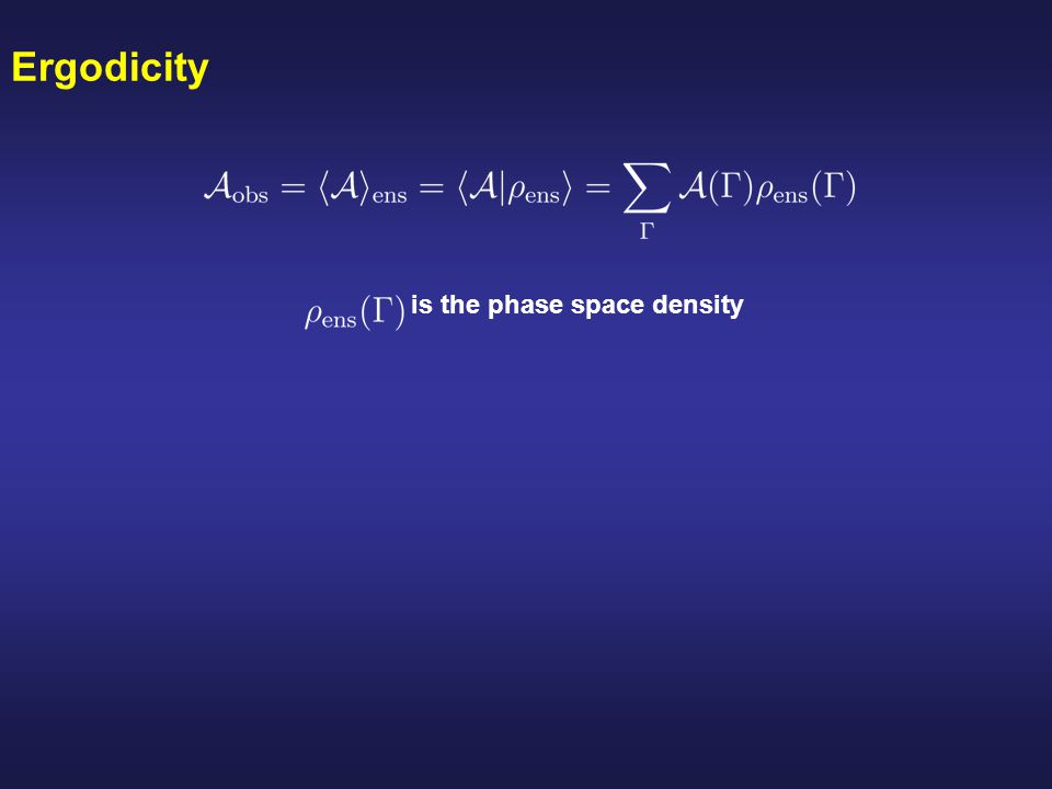 Different aspects of ergodicity The system relaxes on a reasonable time scale towards a unique equilibrium state (microcanonical state) Trajectories wander irregularly through the energy surface eventually sampling all of accesible phase space.