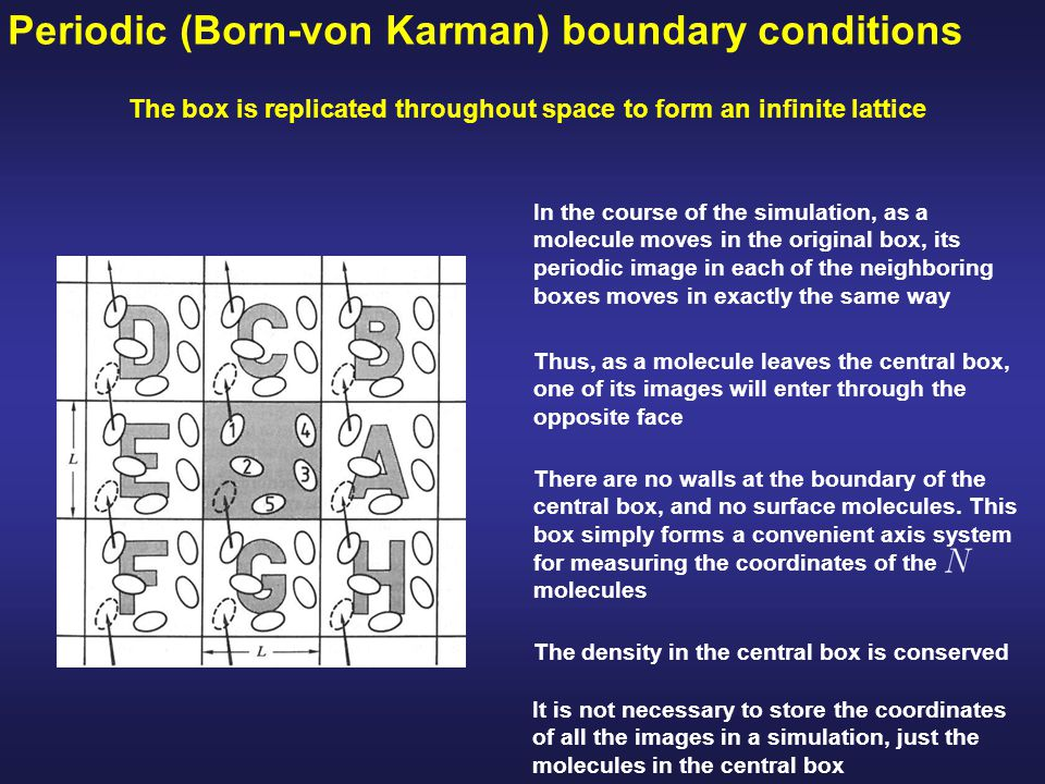 Periodic (Born-von Karman) boundary conditions The box is replicated throughout space to form an infinite lattice In the course of the simulation, as a molecule moves in the original box, its periodic image in each of the neighboring boxes moves in exactly the same way Thus, as a molecule leaves the central box, one of its images will enter through the opposite face There are no walls at the boundary of the central box, and no surface molecules.