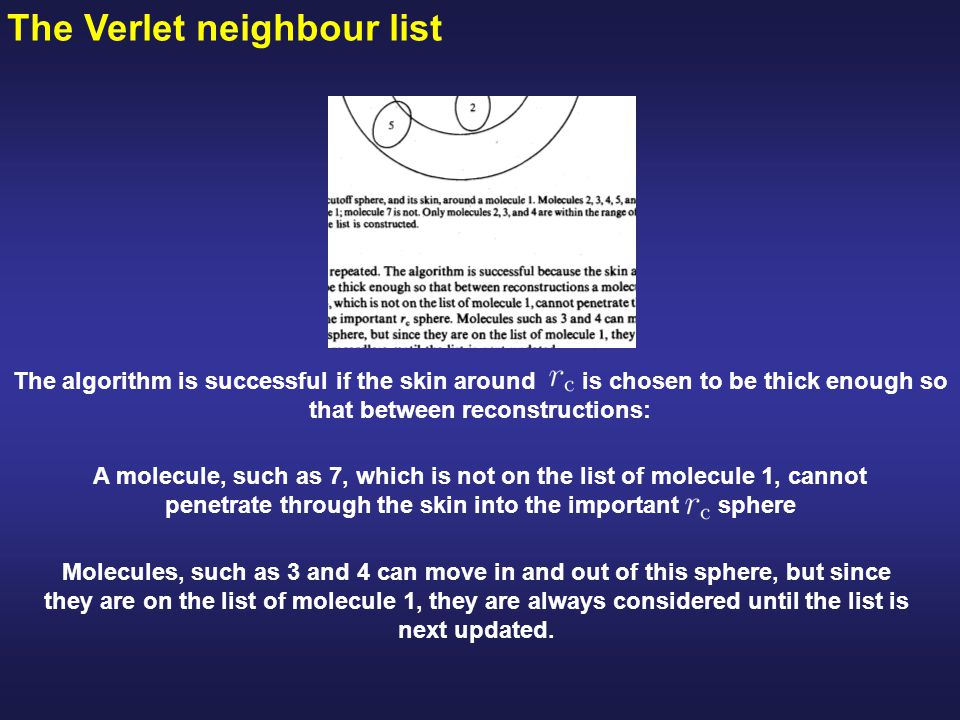 The Verlet neighbour list Molecules, such as 3 and 4 can move in and out of this sphere, but since they are on the list of molecule 1, they are always considered until the list is next updated.
