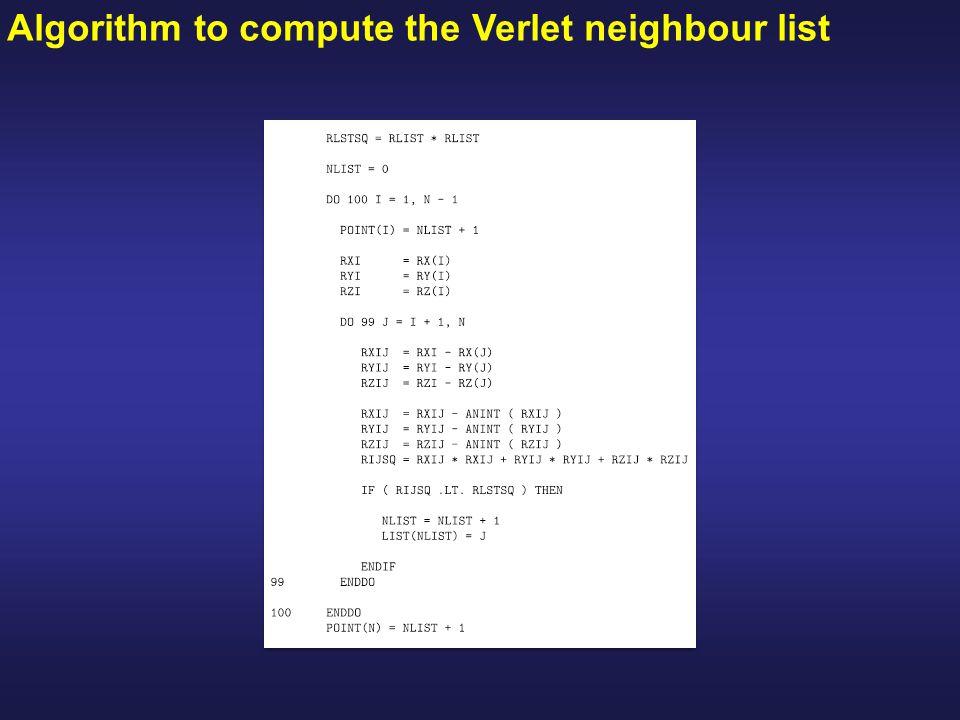 Algorithm to compute the Verlet neighbour list