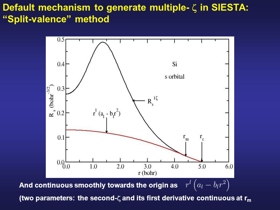 Default mechanism to generate multiple-  in SIESTA: Split-valence method And continuous smoothly towards the origin as (two parameters: the second-  and its first derivative continuous at r m