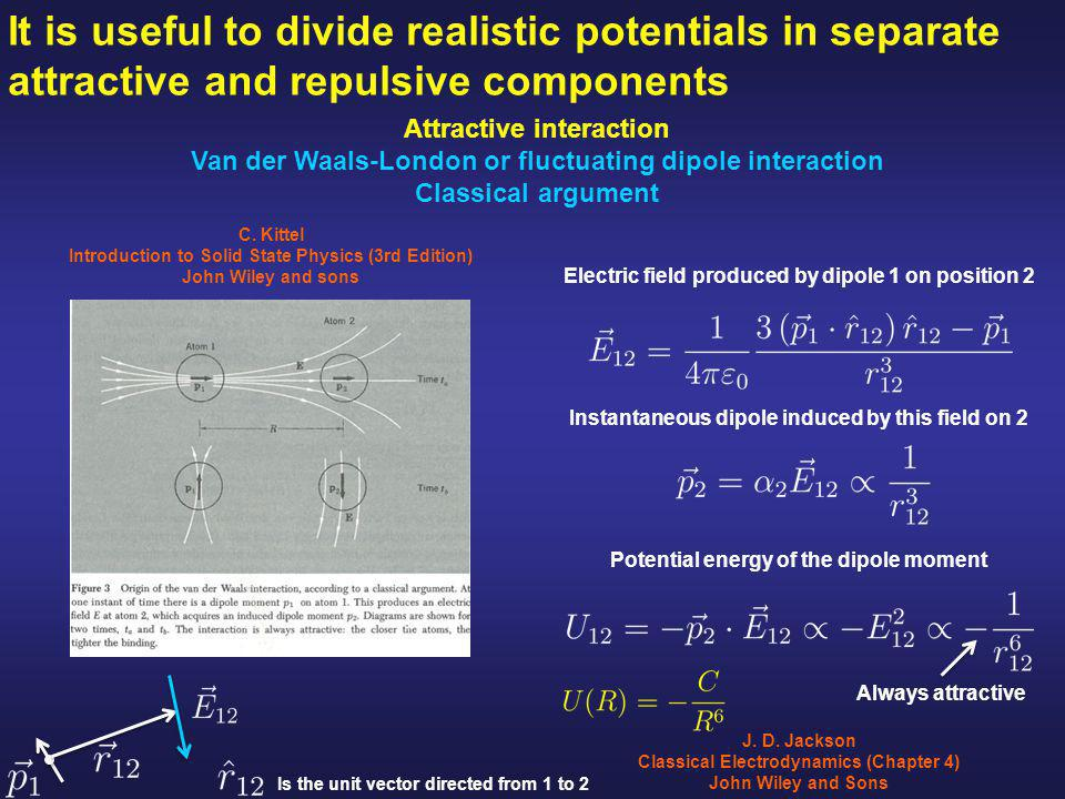 It is useful to divide realistic potentials in separate attractive and repulsive components Attractive interaction Van der Waals-London or fluctuating dipole interaction Classical argument J.
