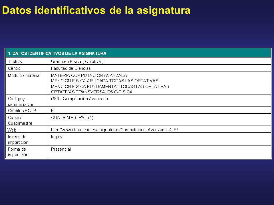 Datos identificativos de la asignatura
