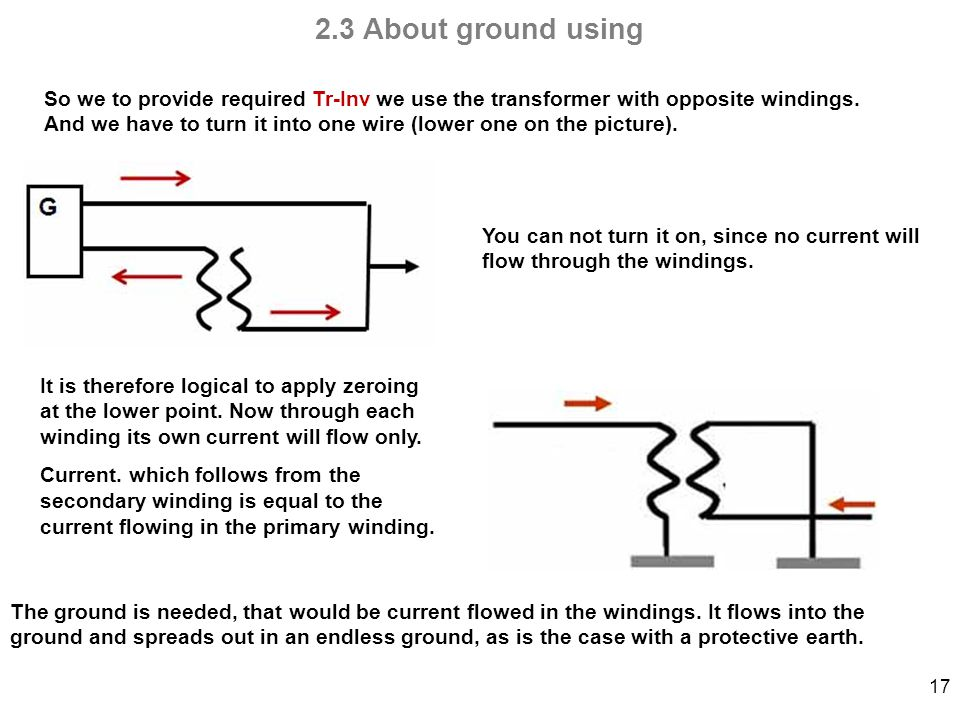 17 2.3 About ground using So we to provide required Tr-Inv we use the transformer with opposite windings.