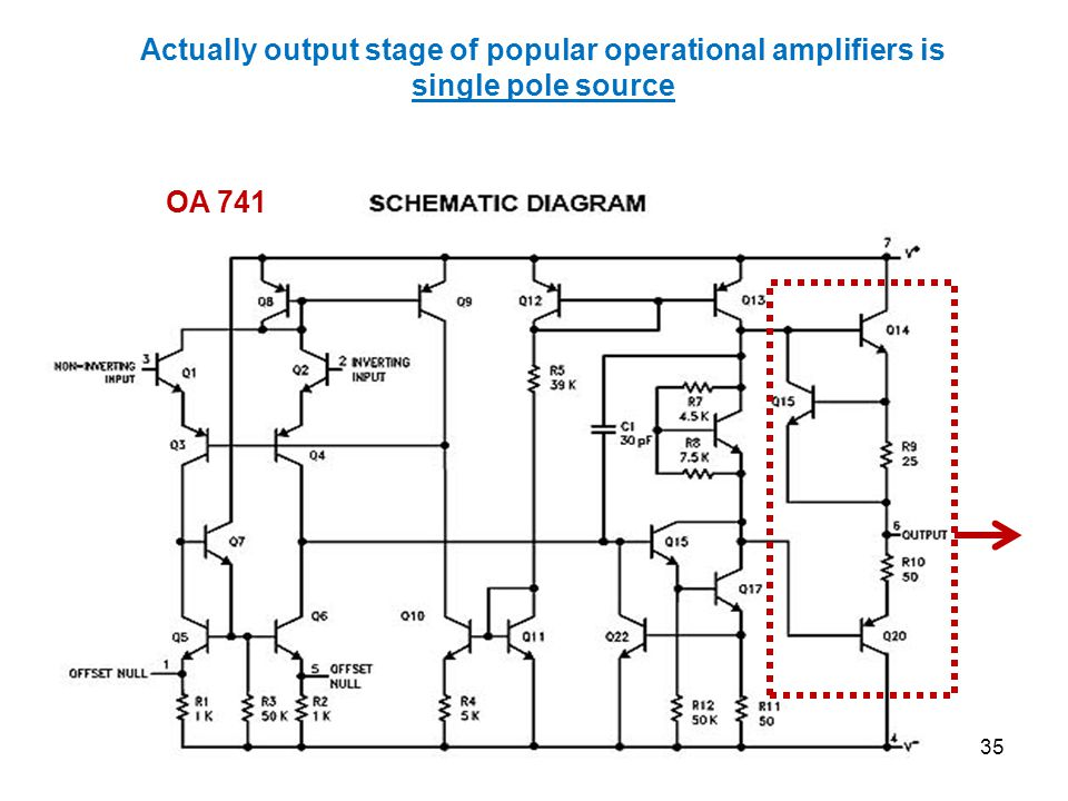 Actually output stage of popular operational amplifiers is single pole source OA 741 35