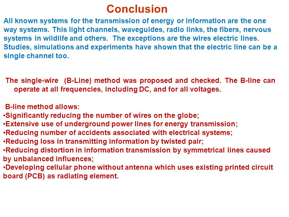 The single-wire (B-Line) method was proposed and checked.