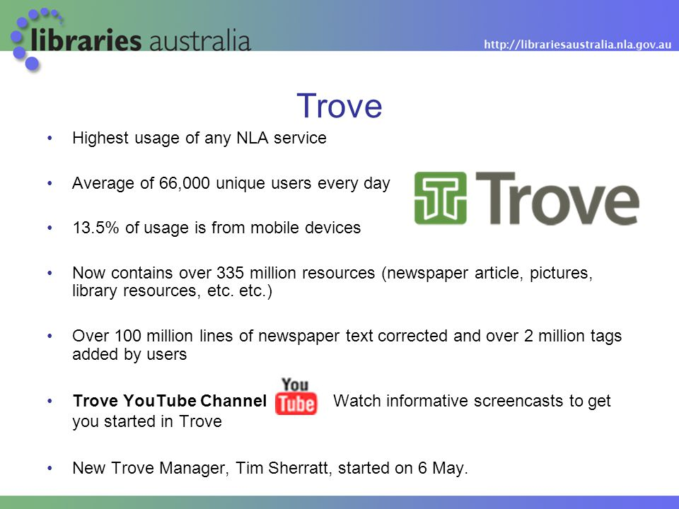 Trove Highest usage of any NLA service Average of 66,000 unique users every day 13.5% of usage is from mobile devices Now contains over 335 million resources (newspaper article, pictures, library resources, etc.