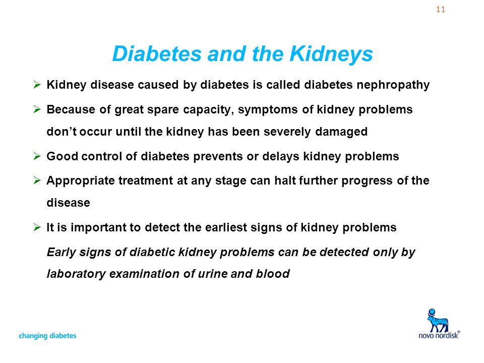 11 Diabetes and the Kidneys  Kidney disease caused by diabetes is called diabetes nephropathy  Because of great spare capacity, symptoms of kidney p