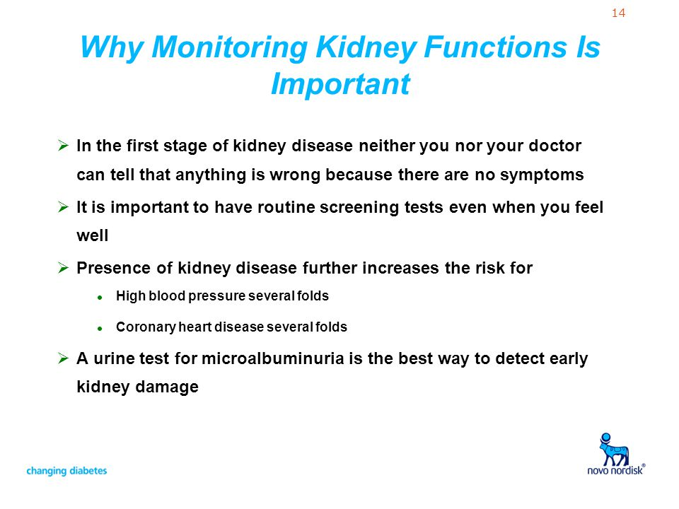 14 Why Monitoring Kidney Functions Is Important  In the first stage of kidney disease neither you nor your doctor can tell that anything is wrong bec