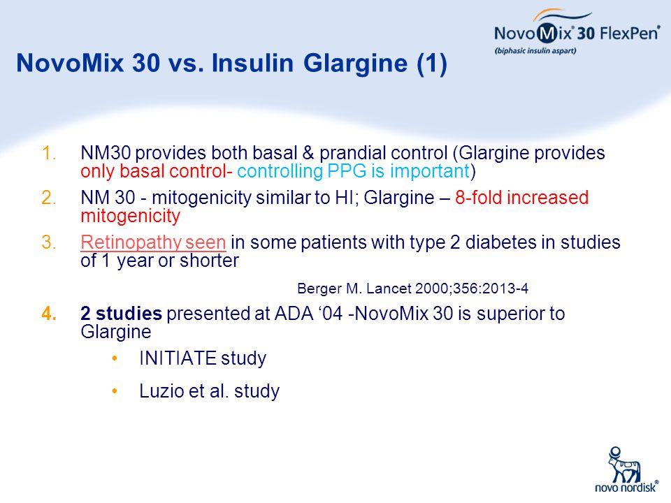 31 NovoMix 30 vs. Insulin Glargine (1) 1.NM30 provides both basal & prandial control (Glargine provides only basal control- controlling PPG is importa