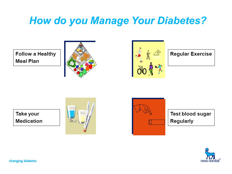 How do you Manage Your Diabetes? Follow a Healthy Meal Plan Take your Medication Regular Exercise Test blood sugar Regularly