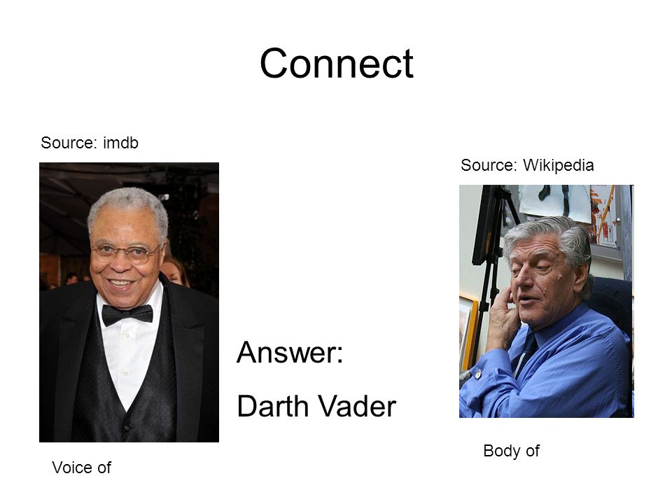 Connect Source: imdb Source: Wikipedia Answer: Darth Vader Voice of Body of