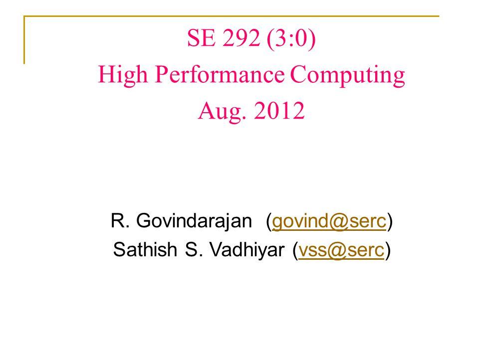 SE 292 (3:0) High Performance Computing Aug. 2012 R.
