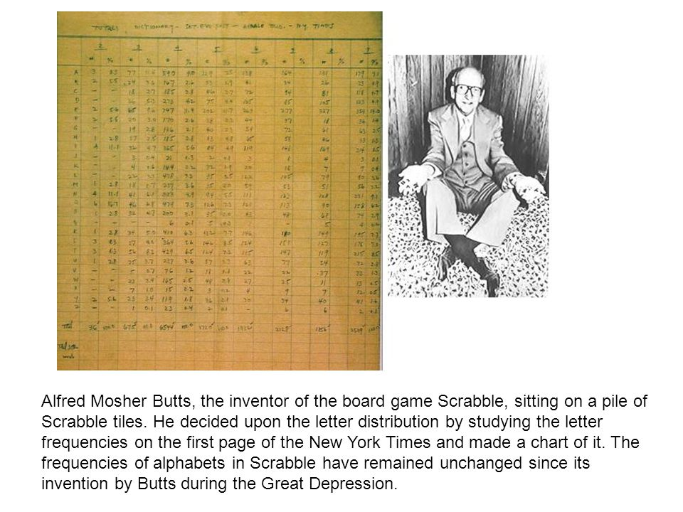 Alfred Mosher Butts, the inventor of the board game Scrabble, sitting on a pile of Scrabble tiles.
