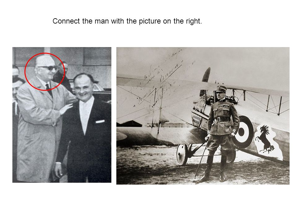 Connect the man with the picture on the right.