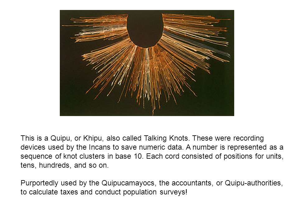 This is a Quipu, or Khipu, also called Talking Knots. These were recording devices used by the Incans to save numeric data. A number is represented as
