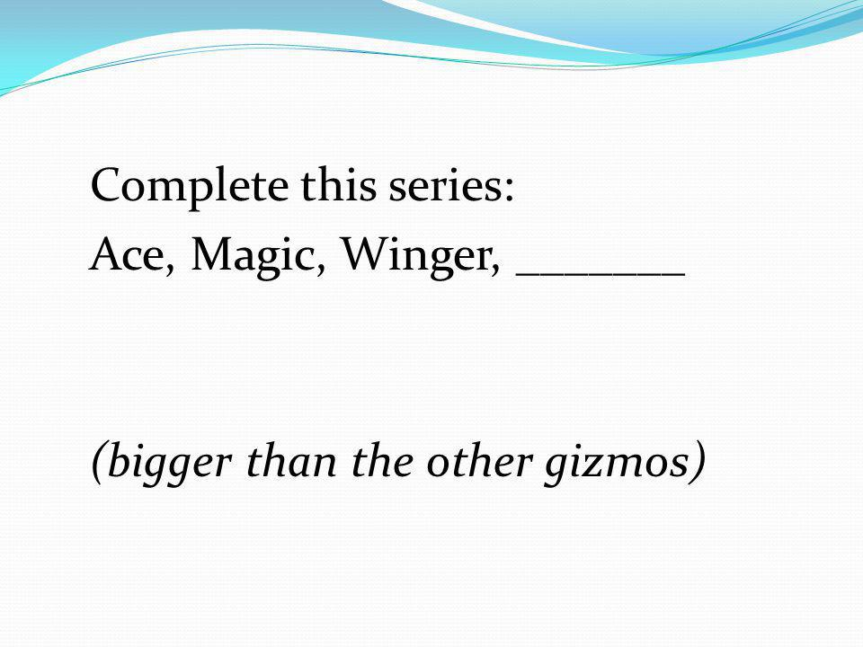Complete this series: Ace, Magic, Winger, _______ (bigger than the other gizmos)