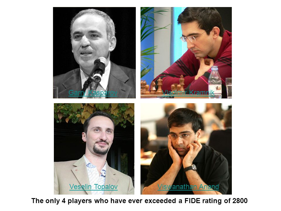 The only 4 players who have ever exceeded a FIDE rating of 2800 Garry KasparovVladimir Kramnik Veselin TopalovViswanathan Anand