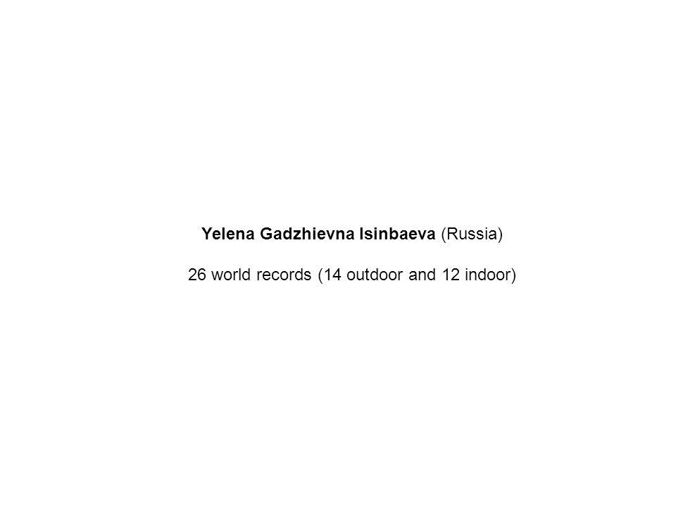 Yelena Gadzhievna Isinbaeva (Russia) 26 world records (14 outdoor and 12 indoor)